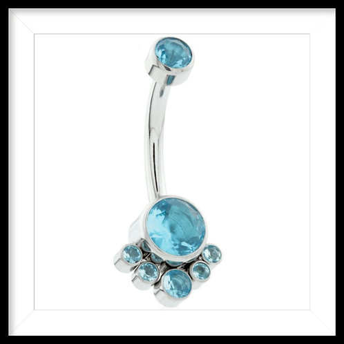 AQUA DOUBLE JEWELLED WITH 6 GEM CLUSTER NAVEL BAR