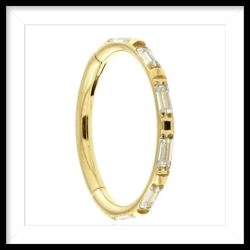 GOLD TITANIUM CRYSTAL JEWELLED BAGUETTE RING