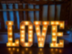 light up wedding letters at tithe barn h