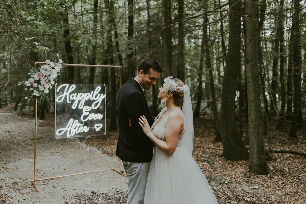 woodland wedding neon sign