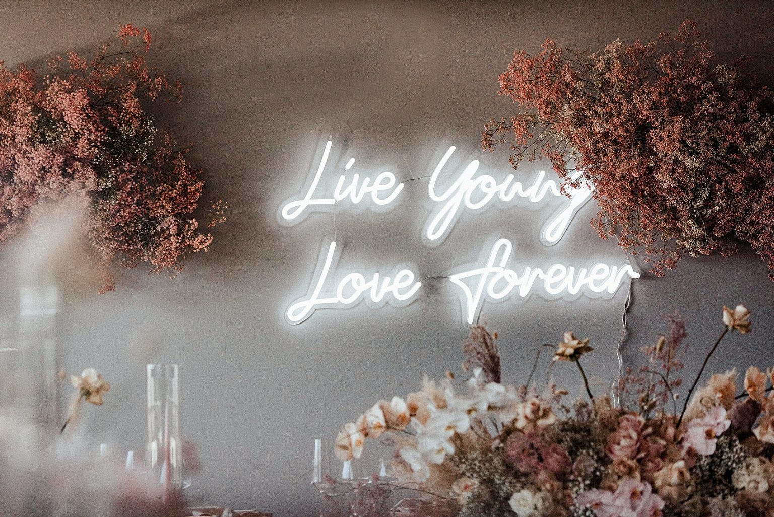live young love forever neon wedding sig