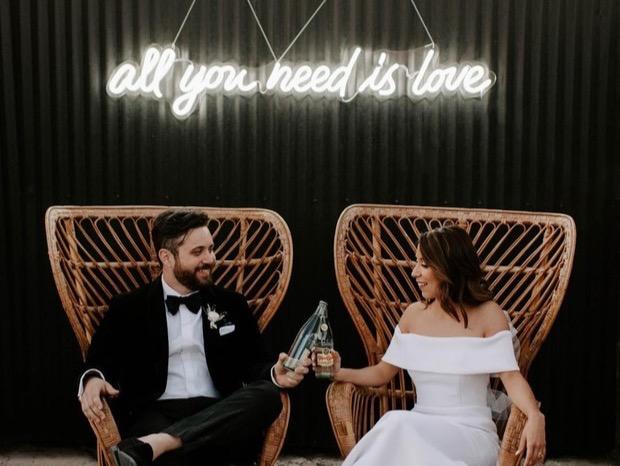 neon wedding sign