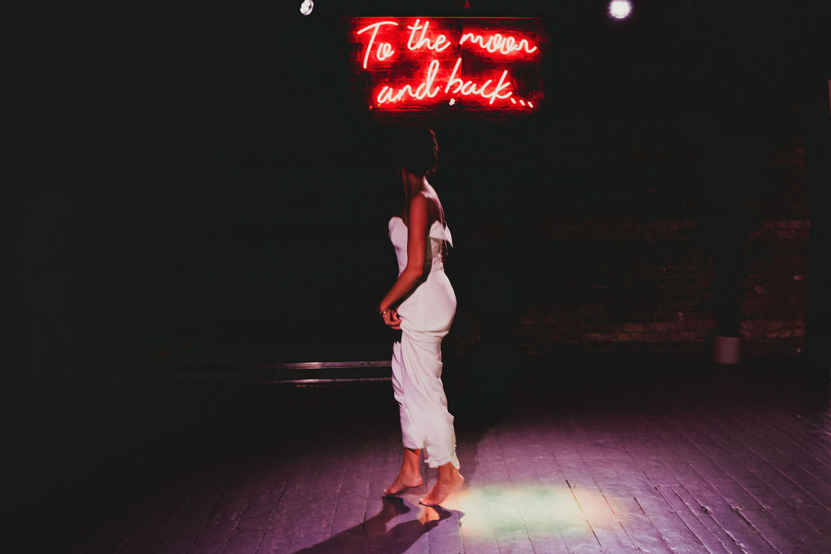 to the moon and back wedding neon sign
