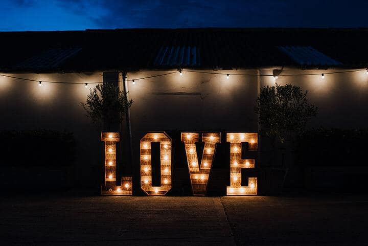 Oxford wedding light up letters