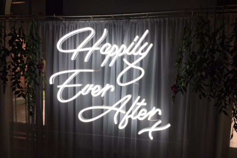 happily ever after neon wedding sign