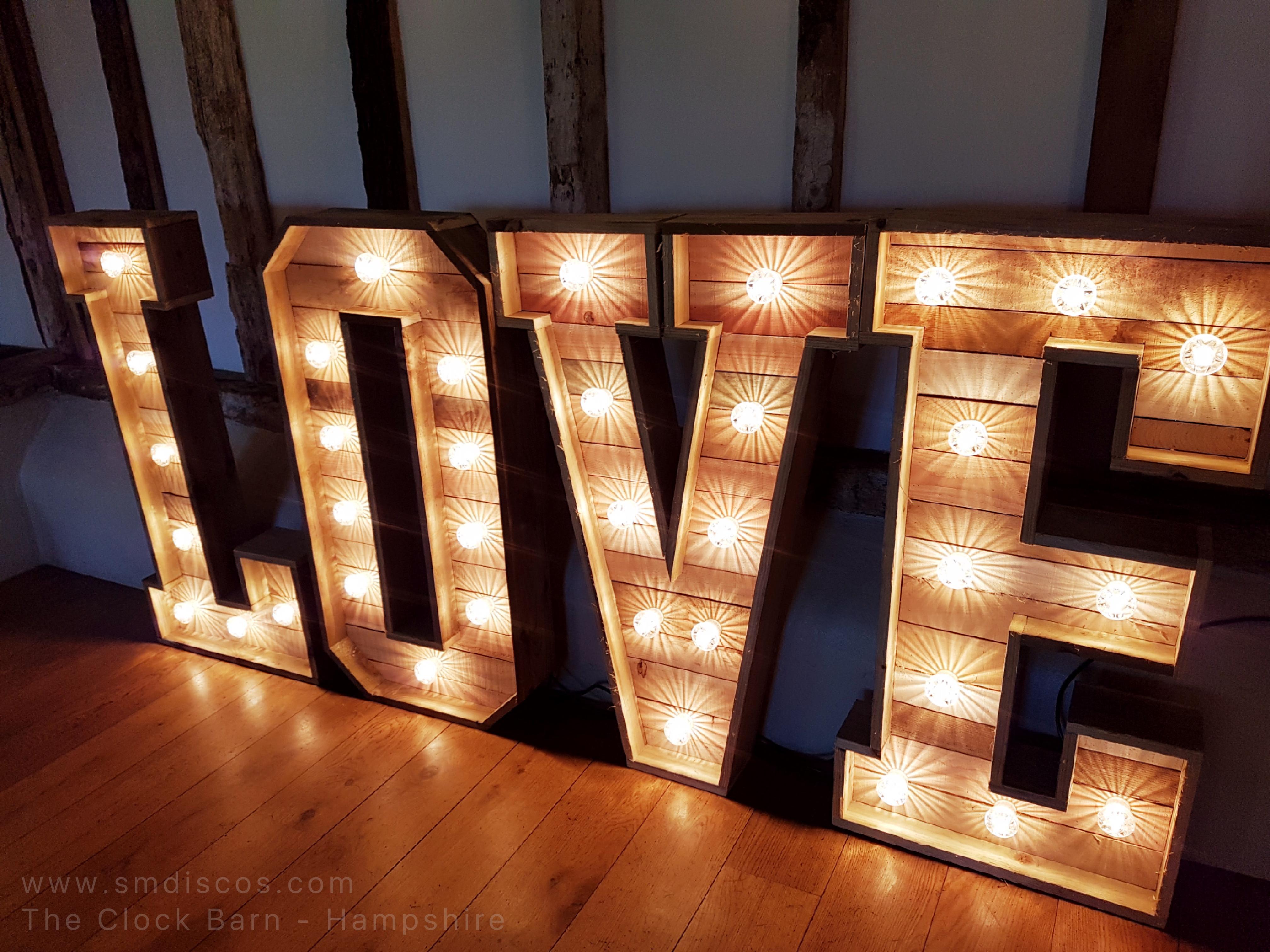 The Clock Barn Rustic wedding light up l