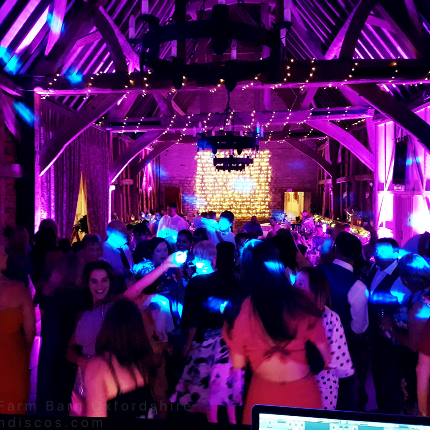 Oxford barn wedding disco