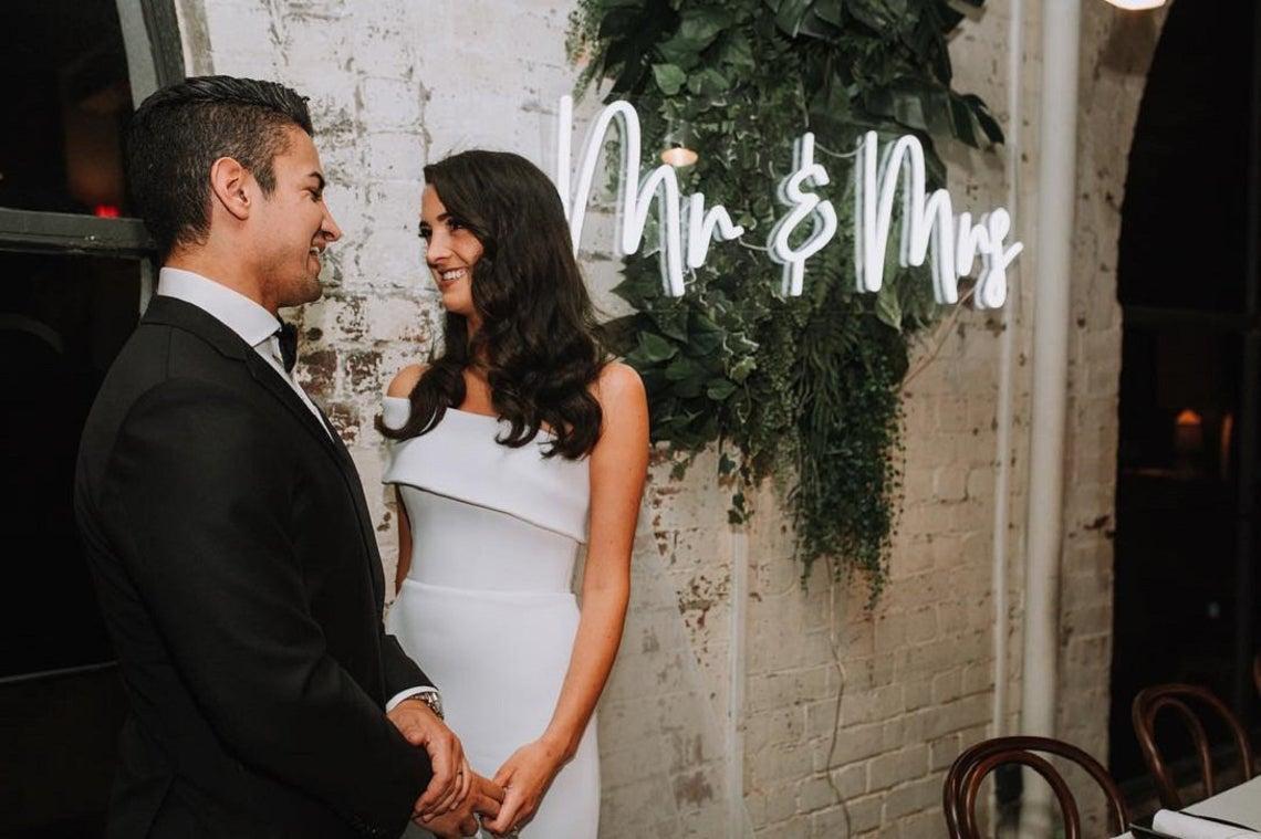 Mr & Mrs Neon Wedding Sign Light