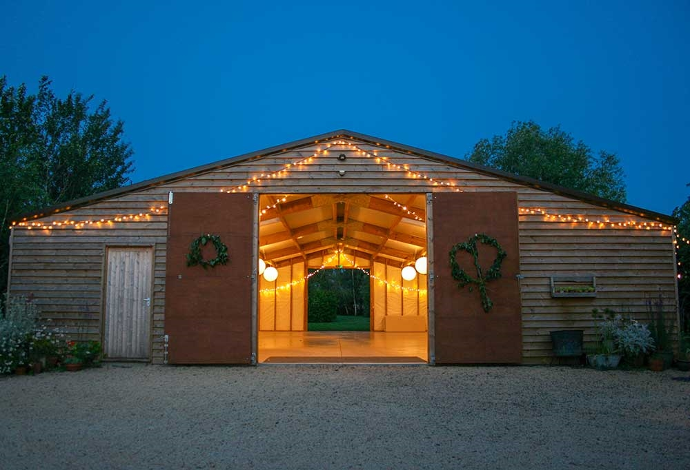 Acorn Barn wedding lighting