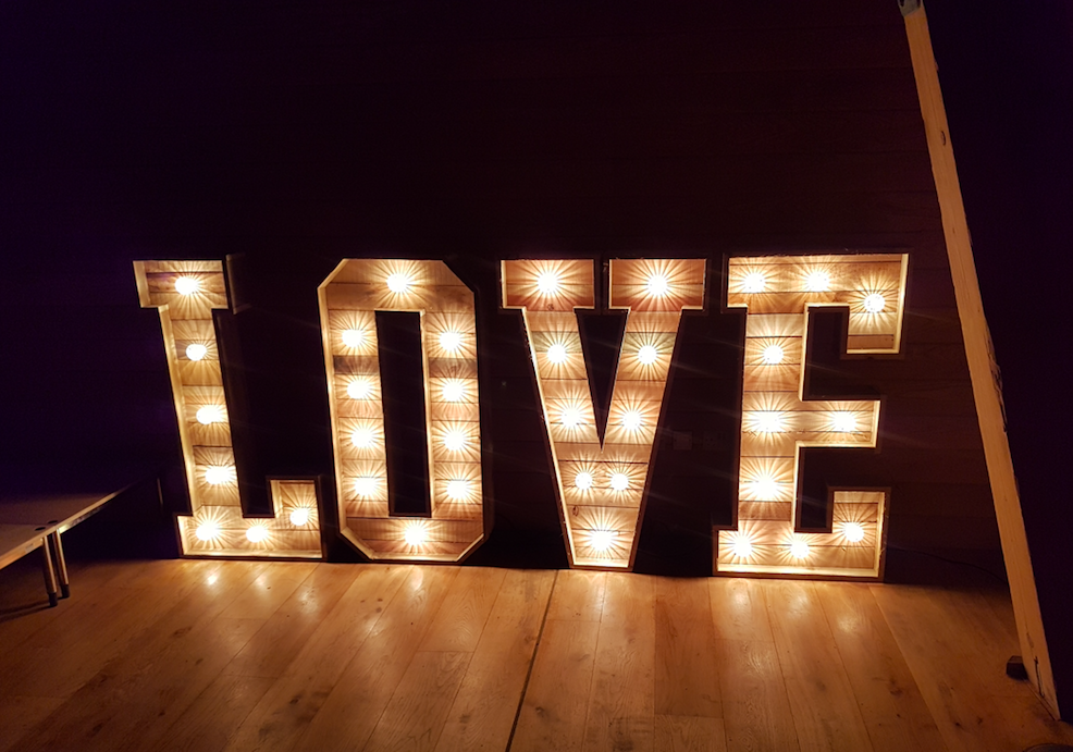 wooden 4ft light up love letters