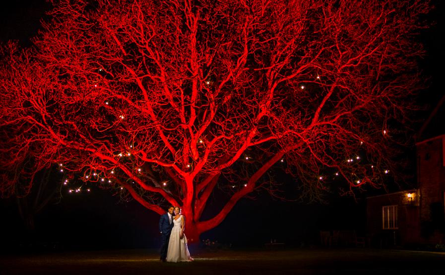 Uplighting at Crockwell Farm wedding