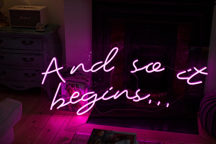 and so it begins wedding neon led sign.j
