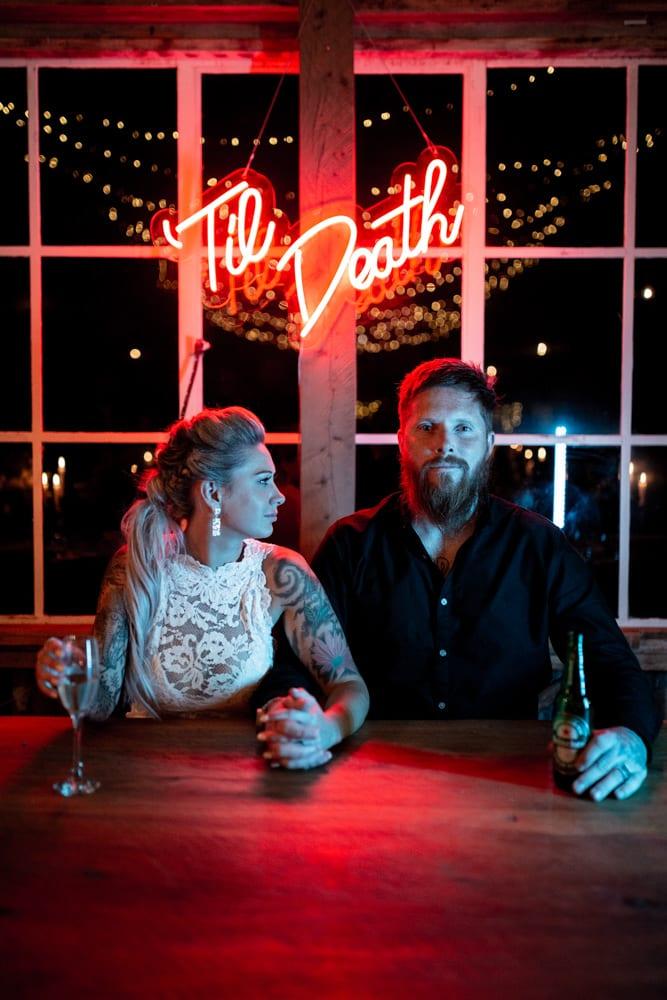 neon wedding til death sign oxford