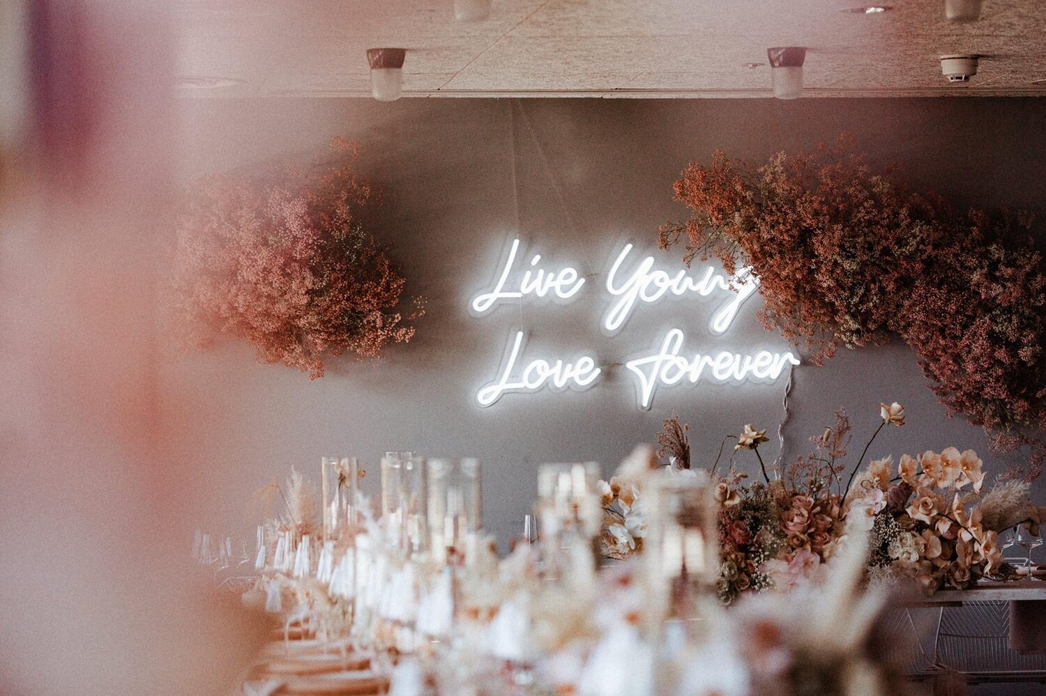 live young neon wedding sign