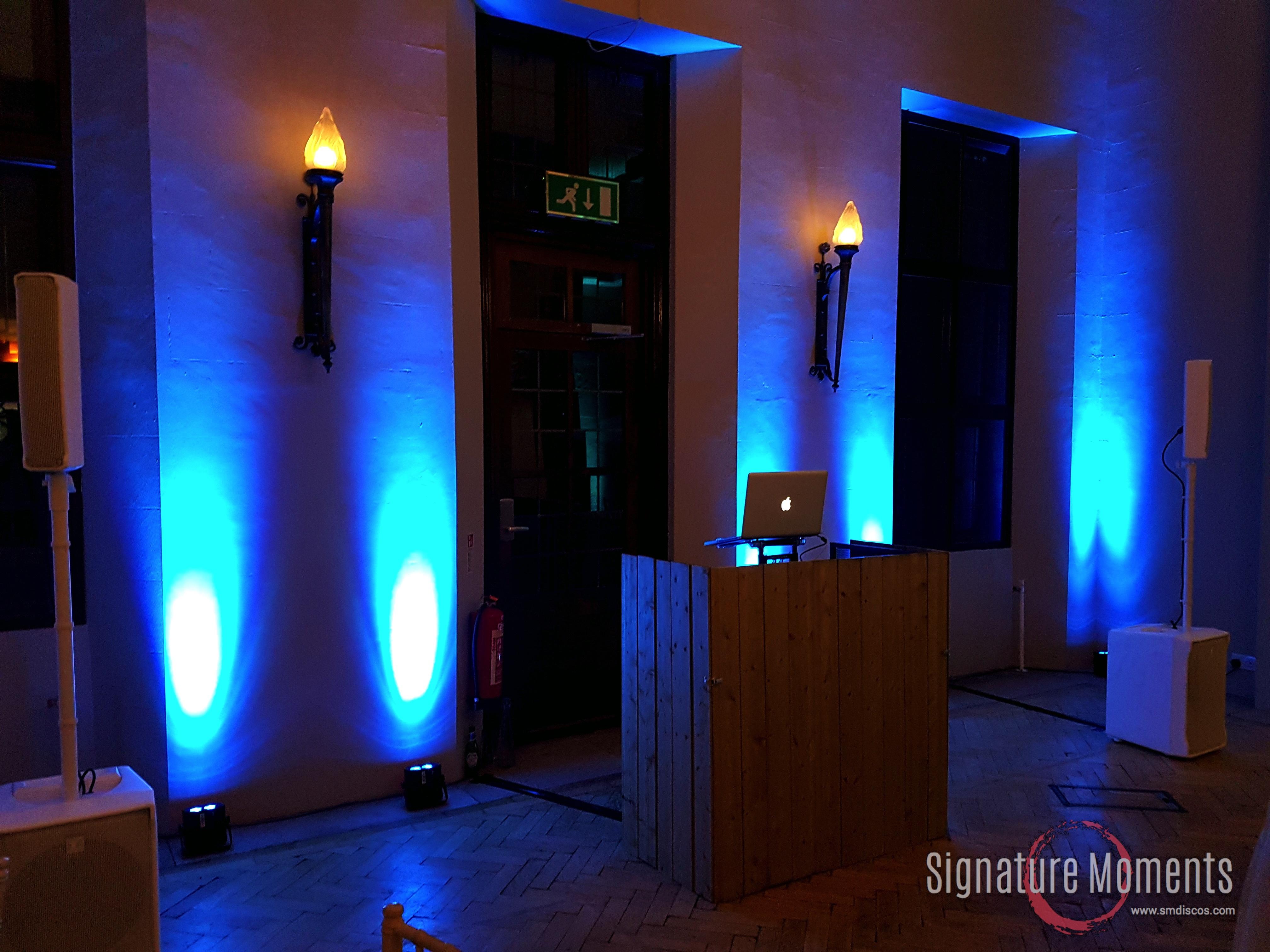 Rustic DJ booth & Uplighting