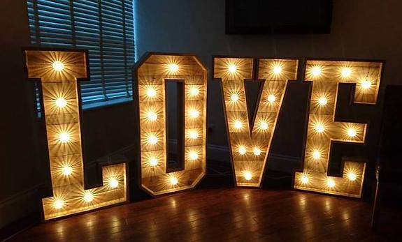 wooden love letters wedding