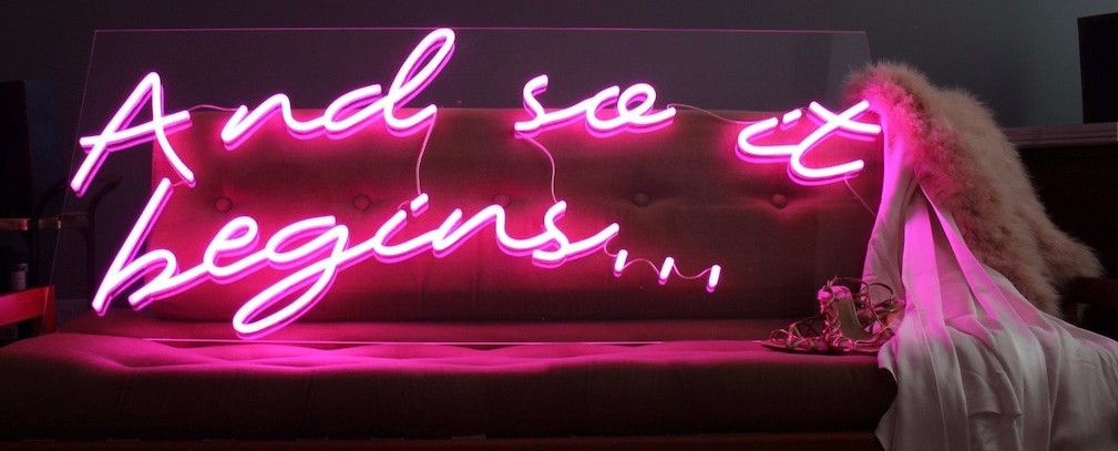 london neon wedding signs and so it begi