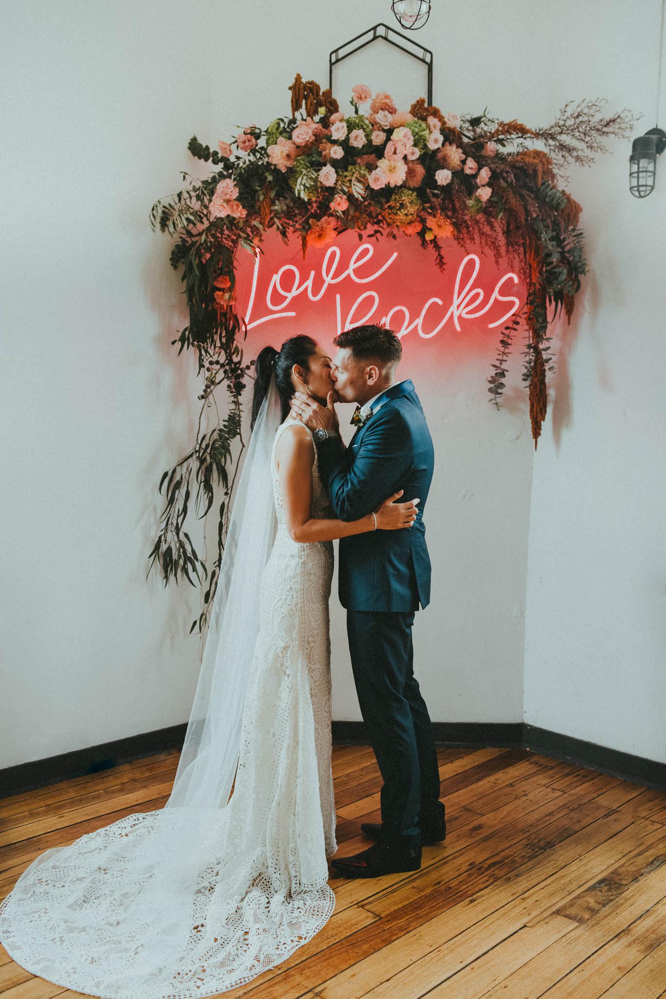 love rocks neon wedding sign