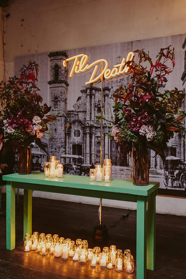 Neon wedding sign Til Death