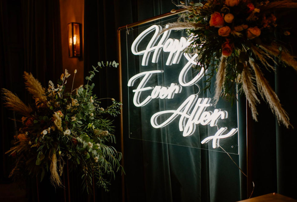 happily ever after neon wedding signs