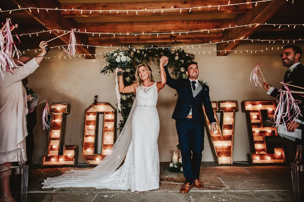 Rustic light up wedding letters