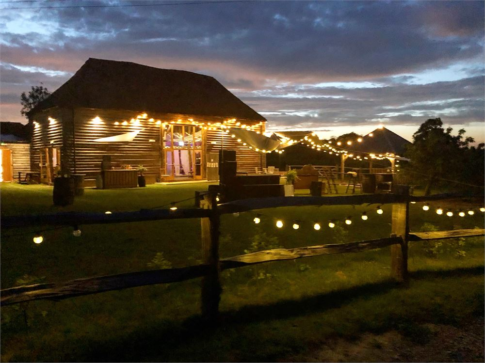 lighting hire at The Cherry Barn in Rye.