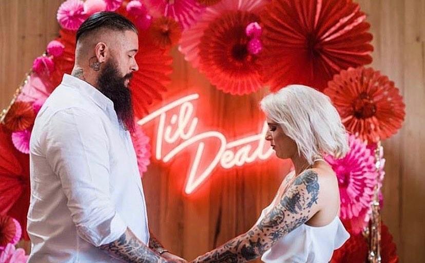 wedding neon sign til death