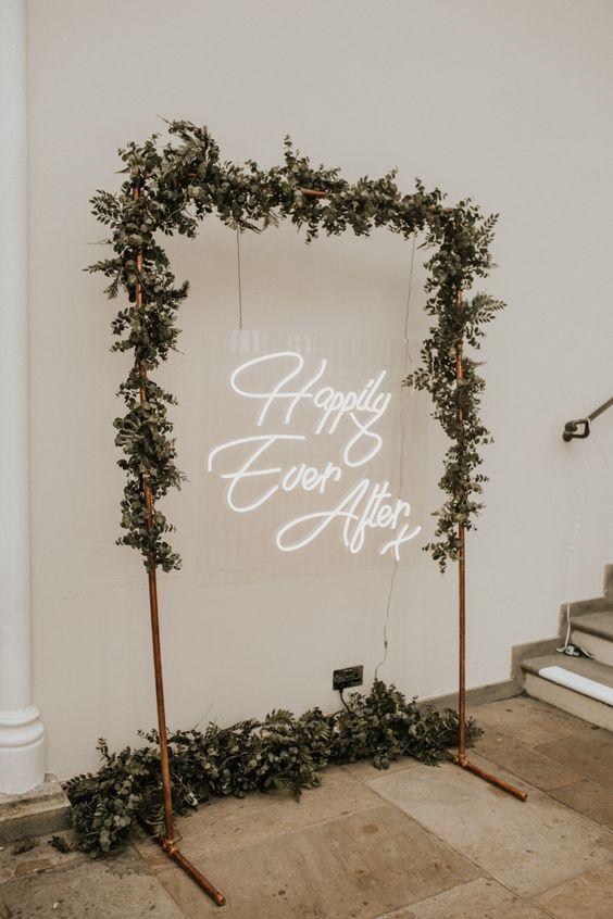 copper arch neon wedding sign