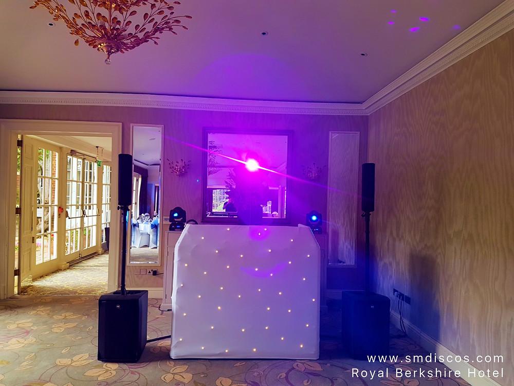 Wedding DJ set up at The Royal Berkshire Hotel