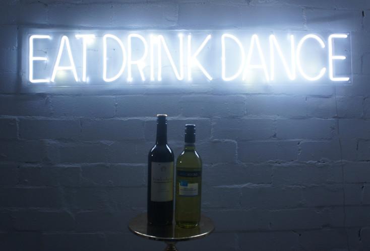 eat drink dance neon wedding sign hire.j
