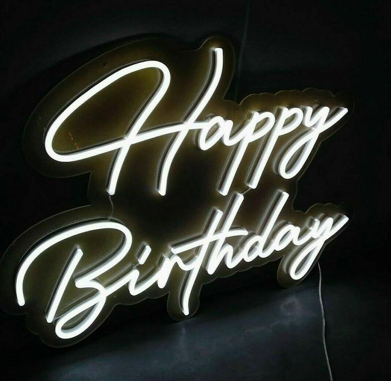 happy birthday neon sign hire