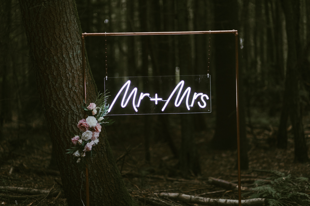 neon wedding sign for a rustic wedding