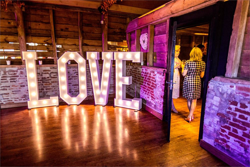 Light up letters at Wellington Barn