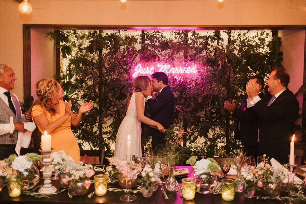 Just Married pink Neon sign hire