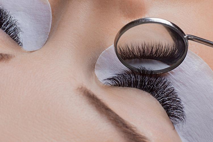 Woman eye with beauty lashes. Eyelash ex