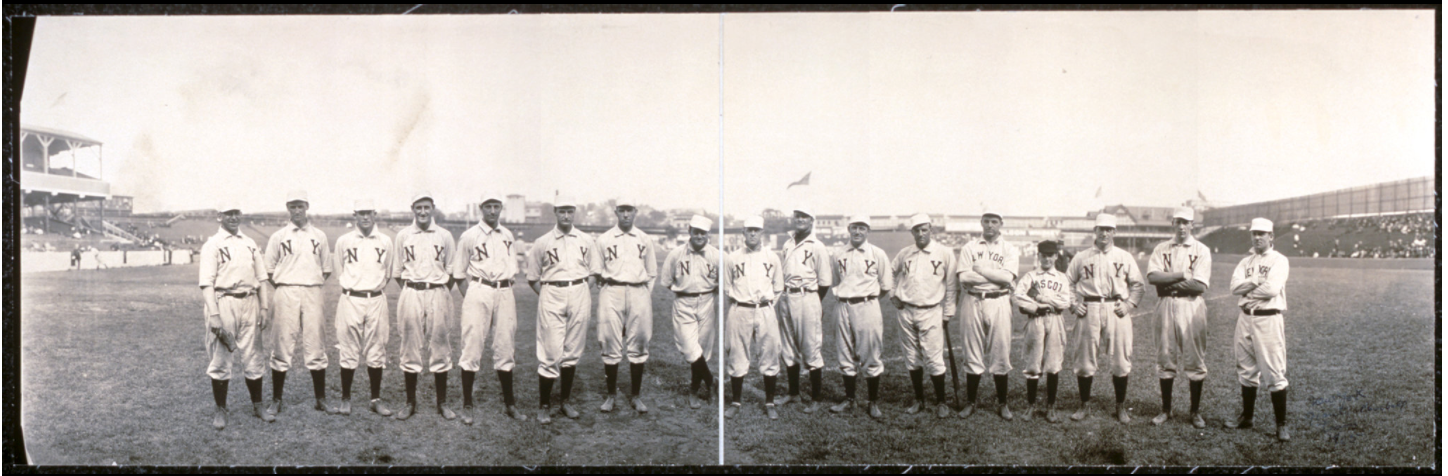 The 1905 New York Giants. Taylor is eighth from right. He was 16-9 in 1905, helping the Giants make it to the World Series. (Library of Congress)