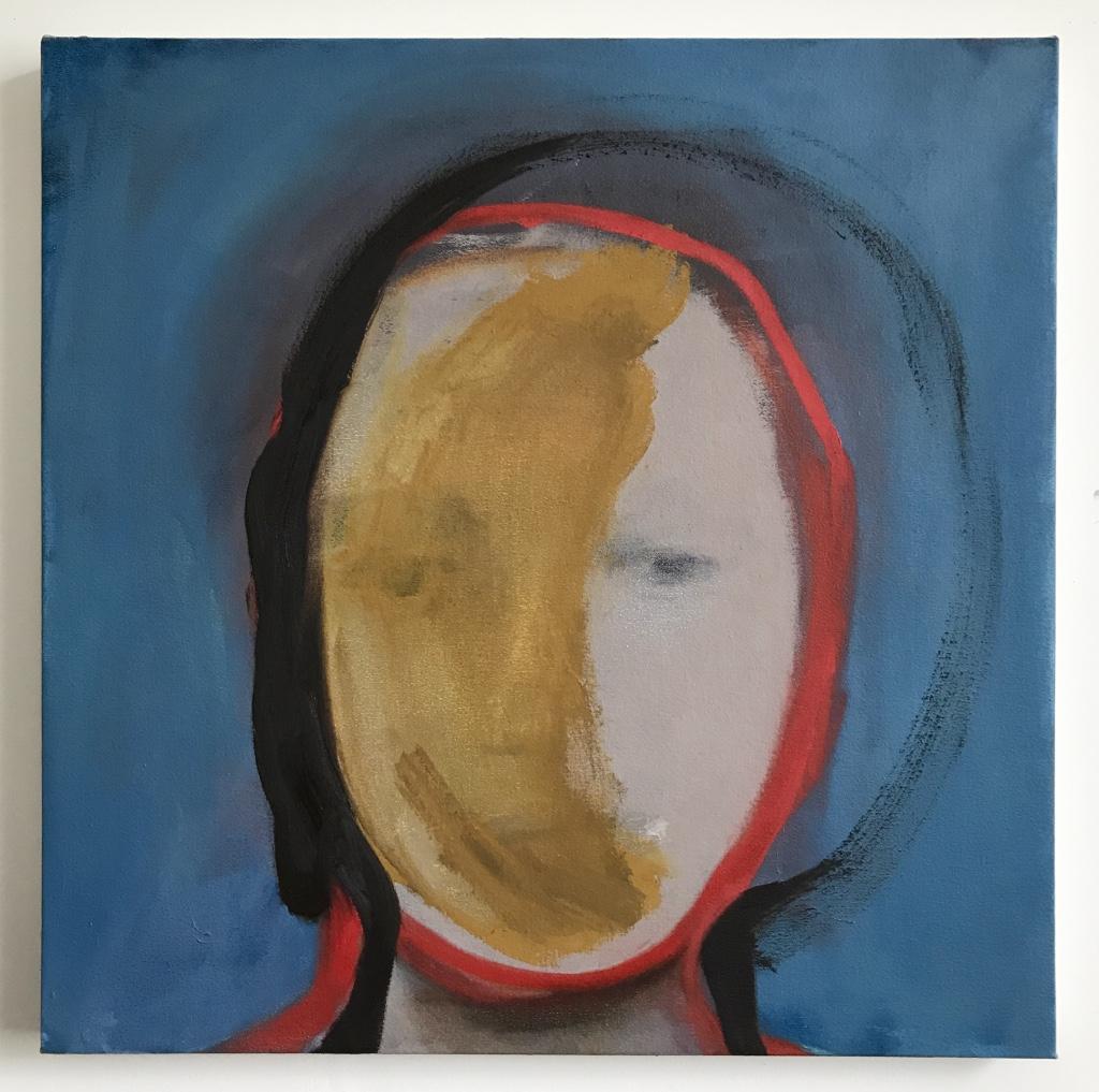 Untitled (ochre figure) 46x46 Oil on canvas2017