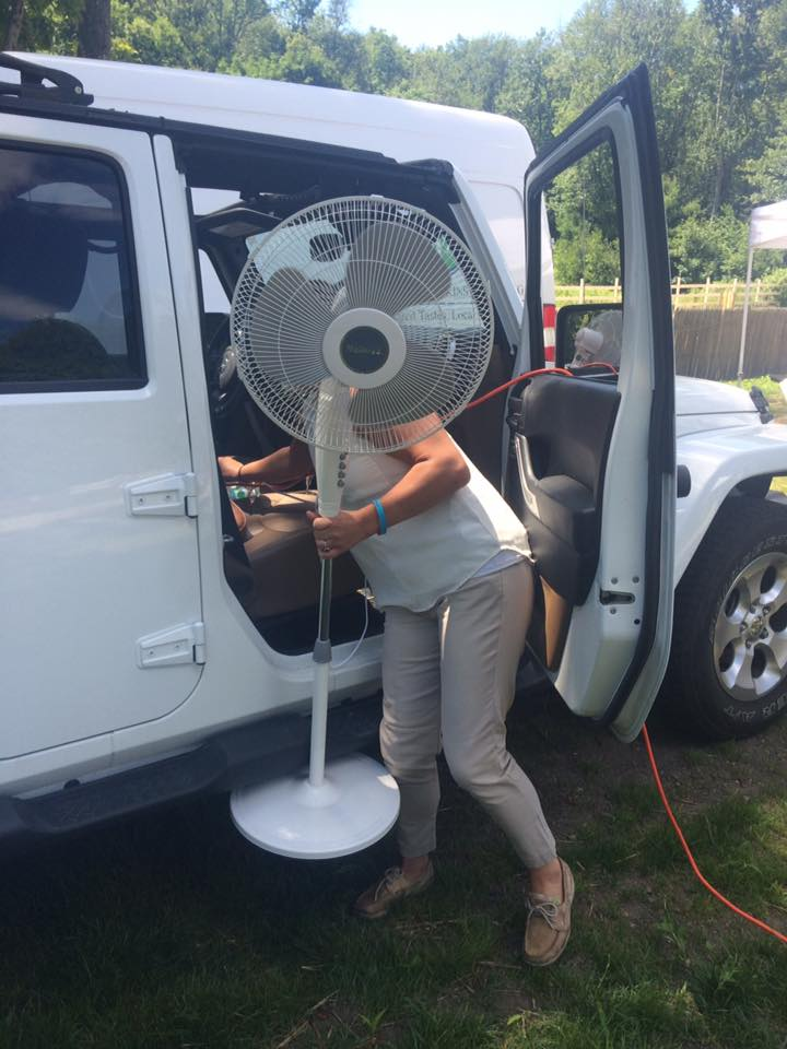 Bree's Jeep can power a fan.  Who knew?