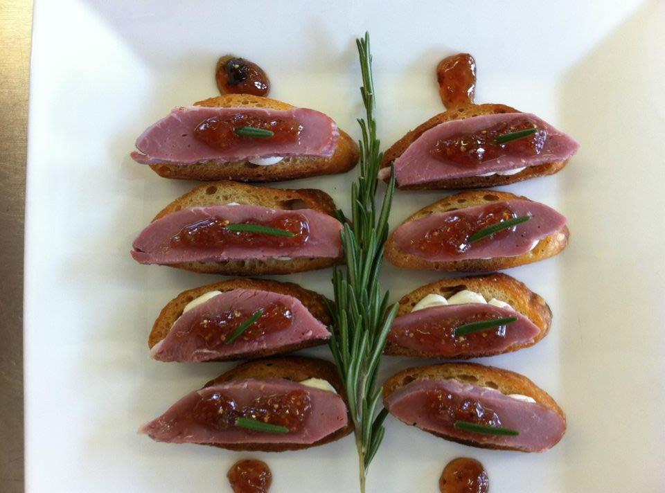 Smoked Duck with Fig Jam Crostini