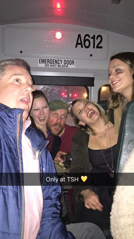 Partying on the school bus with the boss.