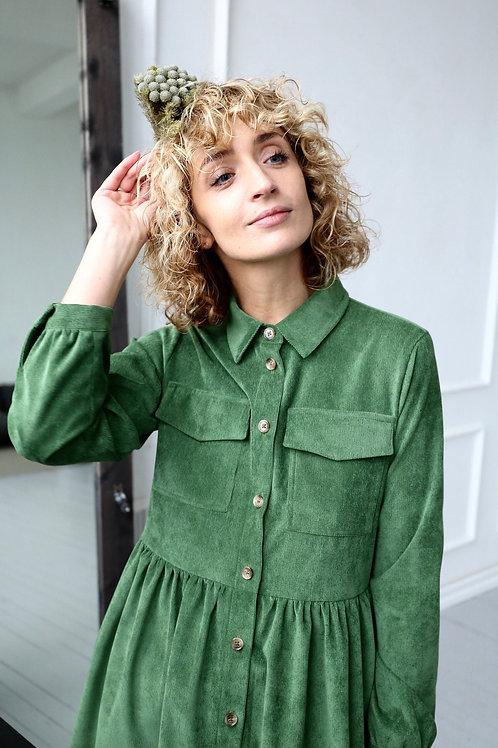 Smalspårig manchesterklänning Grön