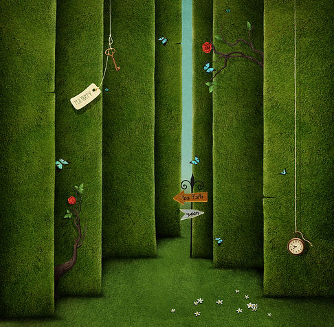 Conceptual illustration of green maze and fantasy objects.jpg