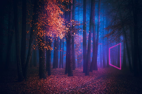 Fairy Mysterious Forest. Neon portal. Retro style. Retrowave. Mystical atmosphere.  Parano