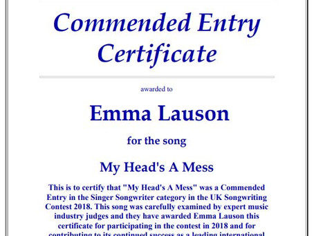 UK Songwriting Contest Prizewinner - for second year running