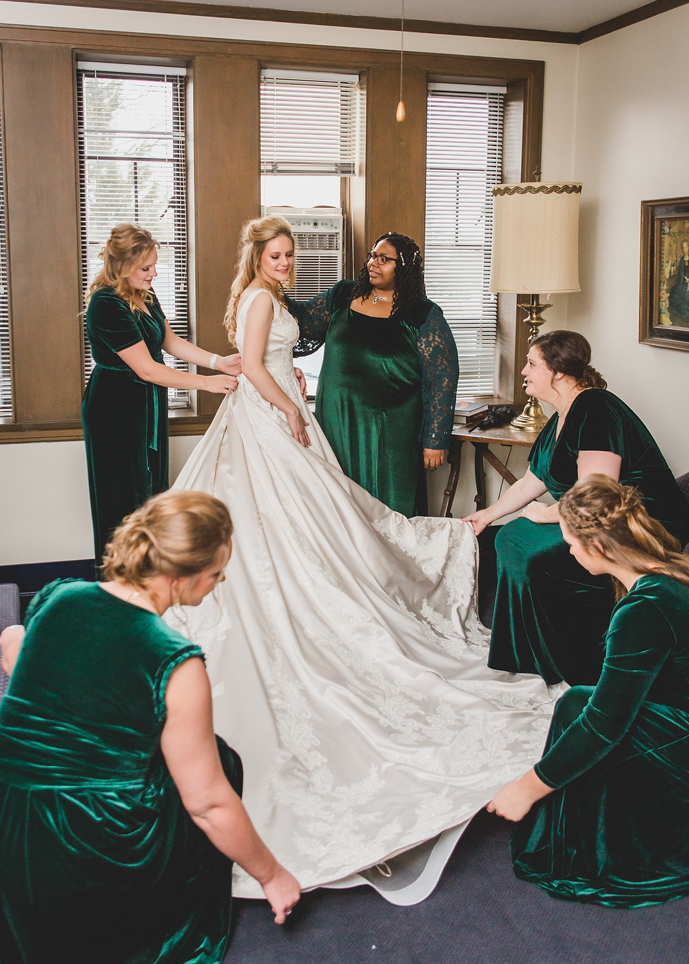 Bride and bridesmaids, Getting ready wedding photos, Illinois Wedding Photographer Composed and Exposed Photography