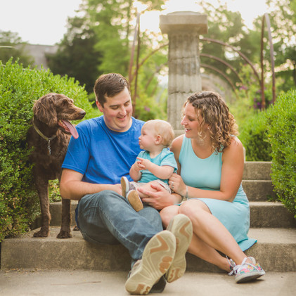 Family photo with kid and dog taken at Fabyan Forest Preserve in Geneva IL. #SouthElginPhotographer Composed and Exposed Photography #FamilyPortrait