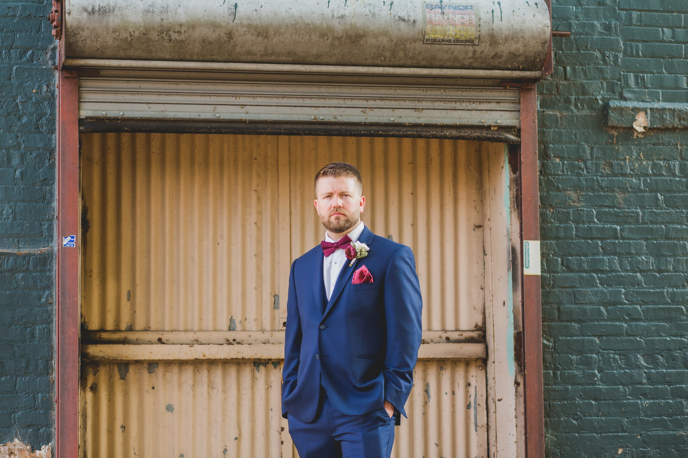 Industrial groomsmen photos.