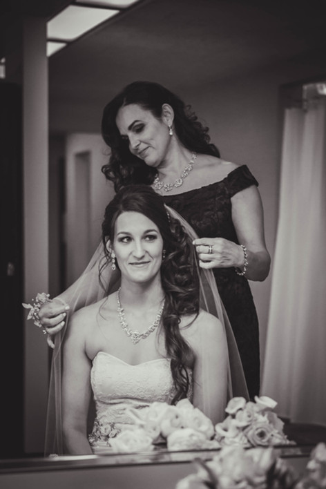 Mom and daughter on wedding day