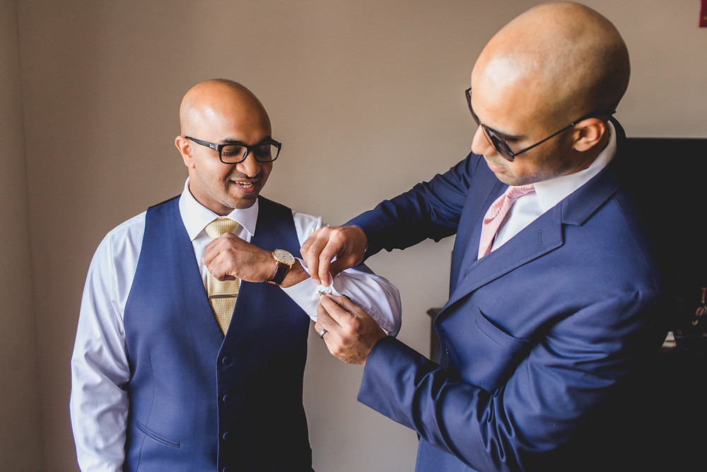 Groom and best man, getting ready wedding photography, Chicagoland wedding photographer,