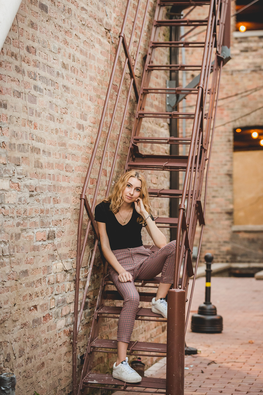 Downtown senior session, St. Charles IL senior session, Fire escape photo shoot, Composed and Exposed Photography